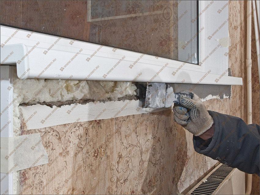 Монтаж пластикового подоконника на балконном блоке своими